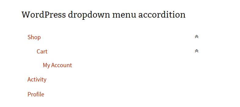 Wordpress menu dropdown 1